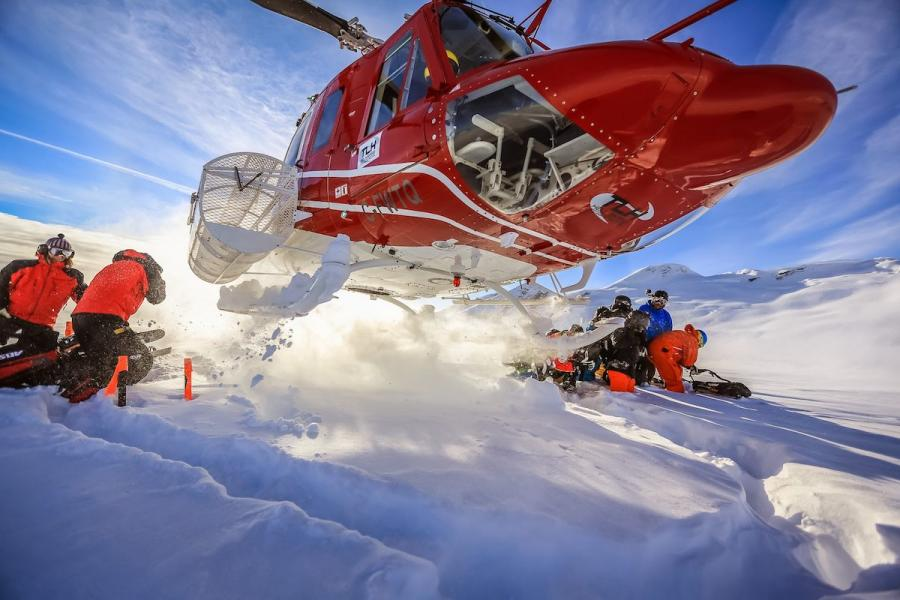 TLH Heliskiing Helicopter Take Off