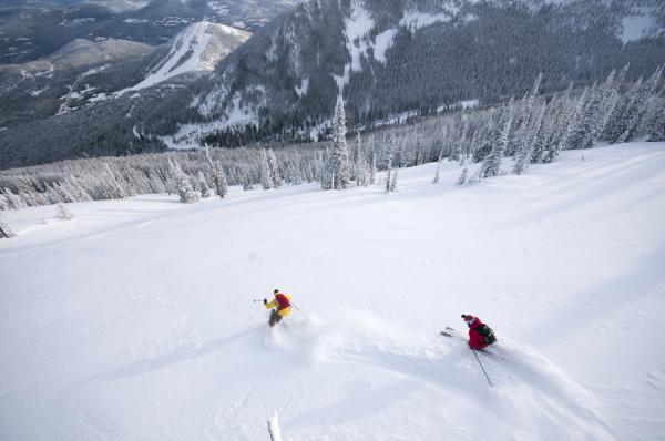2 Skifahrer im Pulverschnee