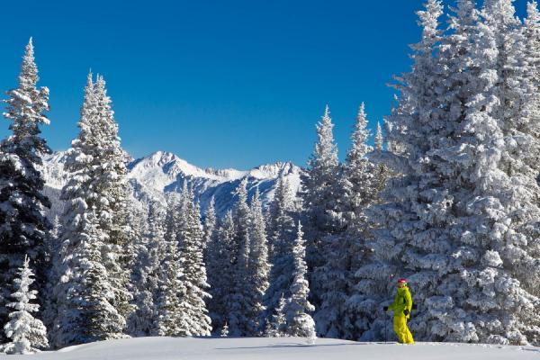 Skifahrer auf der Piste im Skigebiet Vail