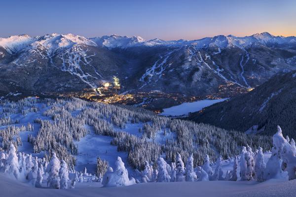 Whistler Berge zur Abenddämmerung