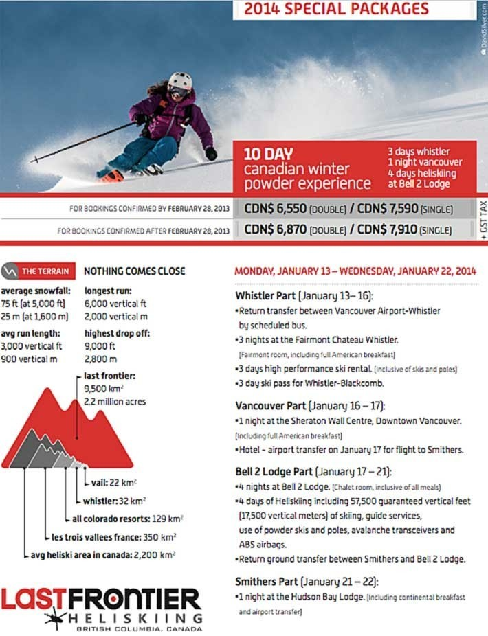 3 Tage skifahren in Whistler plus 4 Tage Heliskiing mit Last Frontier