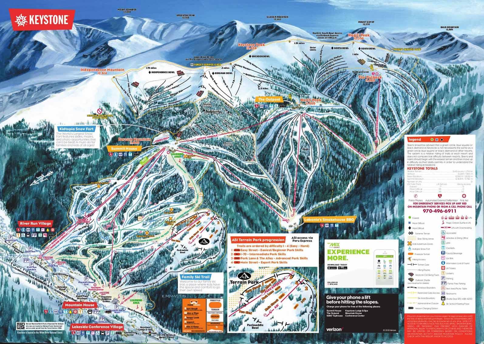 Skigebiet Keystone (Colorado, USA) - Pistenpläne .. on